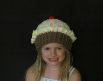 Hand Crochet Cupcake Hat ~ Size Small ~ Light orange, green, yellow and white top with Medium brown bottom