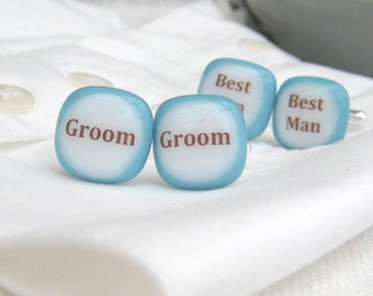 Wedding Party Handmade Glass Cufflinks