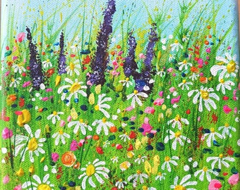"""Bright summer, flower meadow painting on 6x6"""" box canvas"""