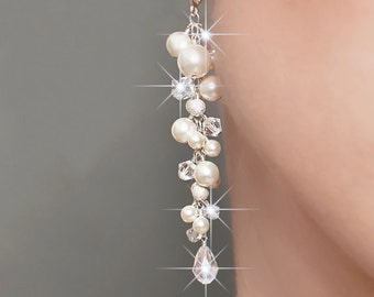 Bridal earrings, long cluster wedding earrings, long pearl and crystal earrings, pearl earrings