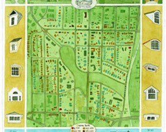 watercolor map of Fisher Park Historic District in Greensboro, NC