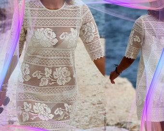 Model dress white cotton crochet woman diagram and international chart in photo (not d written explanation) pdf format