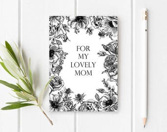PRINTABLE Black and White Mother's Day Card - Floral Mother's Day Card - Pretty Mother's Day card - INSTANT DOWNLOAD