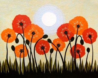 Sun Children - 11 x 14 inch Cut Paper Art Print