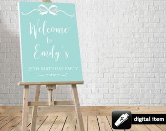DIGITAL Download: Teal Blue Inspired Welcome Board, Tiany and Co party welcome board for bridal, baby shower, birthday