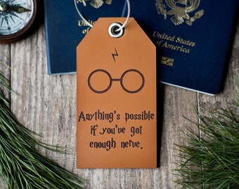 Luggage tag, Harry Potter Gift, Leather Luggage Tag | Anything is Possible