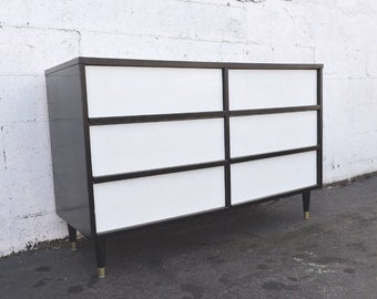 Mid Century Painted Two Tone Black and White Dresser with Tapered Legs 8170