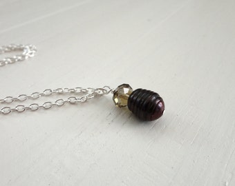 Pearl pendant necklace brown freshwater pearl minimalist necklace large pearl necklace for women