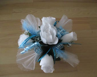 centerpiece blue turquoise and white