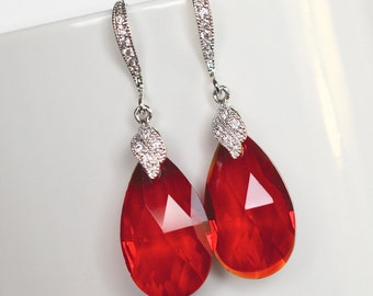 Handmade Ruby Red Pear AAA Austrian Crystal Dangle Earrings, Bridal Wedding (Sparkle-2171)