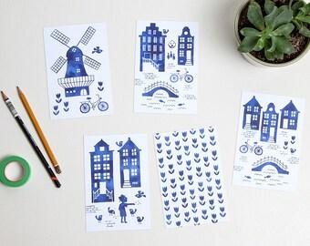 Watercolor Holland royal blue postcards / ansichtkaarten delfts blauw - set of 5 - design by Heleen van den Thillart