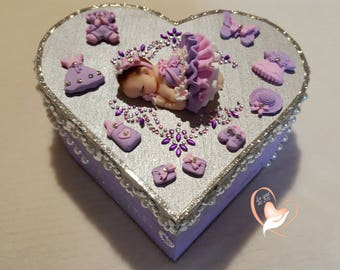 Box of baby girl purple and grey - the heart of the arts