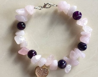Rose Quartz & Amethyst Bracelet with Crystal Heart with Matching Earrings