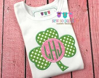 Baby Girl St Patricks Day Shirt - St Patricks Day monogram Outfit - St Patricks Day shirt - Baby Girl Shamrock Shirt