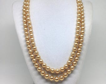 Estate Gorgeous Long Soild Beaded Gold Tone Necklace