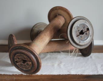 3 Large Industrial Wooden Spools, Vintage Industrial Bobbin, Industrial Decor, Factory Fresh