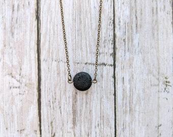 Lava Lentil Minimalist Necklace // Diffuser // Essential Oil Diffuser Necklace // Diffuser Jewelry // Healing Stone // Aromatherapy