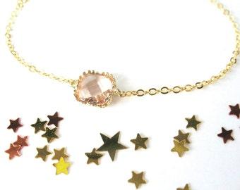 Champagne Bracelet Peach Bracelet Peach Bridesmaids Jewelry Peach glass bracelet Dainty bridesmaids Blush, nude, pink, rose bracelet