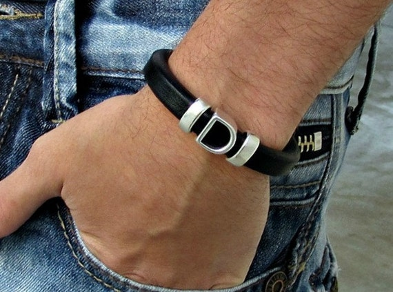 Mens Personalized Leather Bracelet Gold Silver Initial Monogram Bracelet customized to your wrist