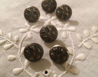 Vintage Buttons - Scandinavian Heart Design on silver metal Set of 6