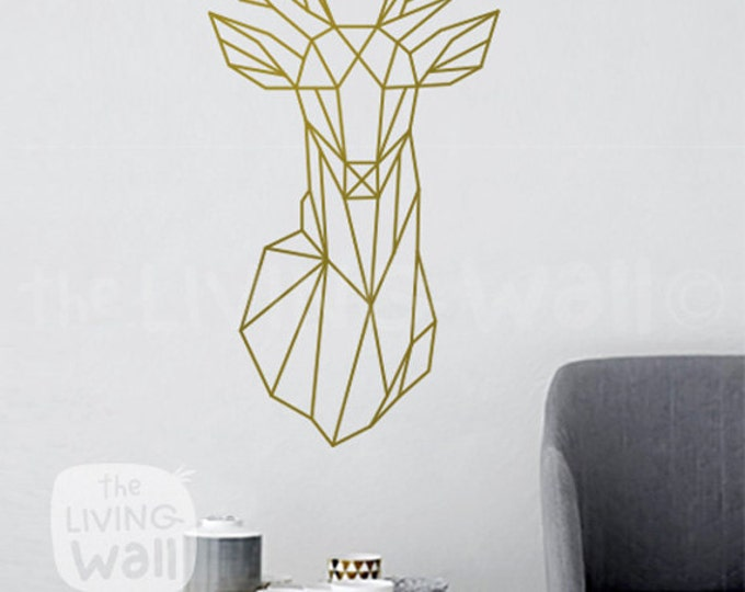 Featured listing image: Geometric Deer Head Decal Geometric Animal Stickers, Deer Head Removable Vinyl Australian Made