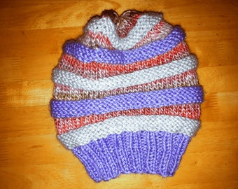 Rainbow jelly childs slouchy woolly hat