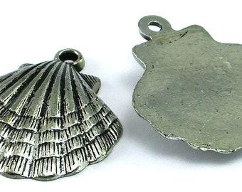 Silver Toned Acrylic Sea Shell Beads  , 37mm Metalized Beads , Large Plastic Beads , Sea Shell Pendants
