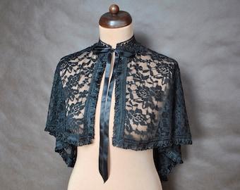Gothic Victorian Vampire Elegant Burlesque Lolita black LACE CAPE cloak wrap-up, delicate tassels, New Year's Eve, vampire costume, prom