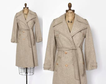 Vintage 70s Wool TRENCH / 1970s Neutral Oatmeal Tan Belted Trench Coat XS