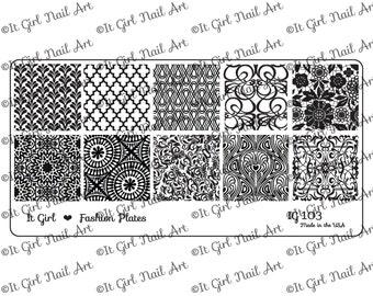 IG103 Nail Art Stamping Plate - geometric, quatrefoil, lace, damask