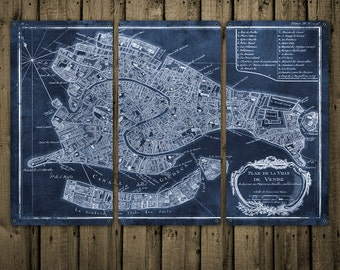 """Vintage Map of Venice METAL Triptych 36x24"""" FREE SHIPPING Blue Version"""