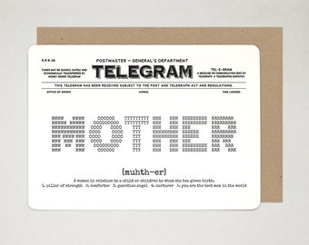 Mother's Day Novelty Card, Happy Birthday Mom, Best Mom Card, Mom Card, Love You Card, Retro Gratitude Card, Notelets TELEGRAM A6 Art Card