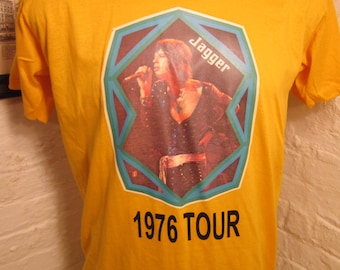 Size XL (47) ** Old Sock Dated 1977 Mick Jagger / Rolling Stones Shirt (Single Sided)  (Fully Licensed)