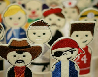 20 Career People Easy In The Hoop Machine Embroidery Finger Puppets for One Crazy Low Price. Super Fun For All Ages!