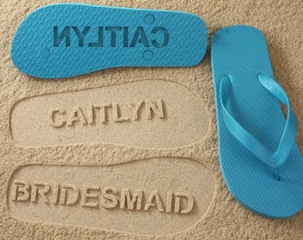 Bridesmaid Flip Flops - Personalized Sand Imprint Shoes for Maid of Honor, Wedding & Bridal Party *check size chart,see 3rd product photo*