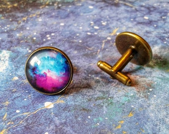 Space cufflinks, galaxy cufflinks, planet cufflinks, moon cufflinks, space gift, cufflink gifts, watercolour cufflinks, space wedding sci-fi