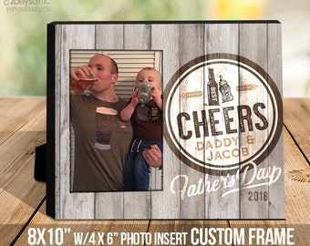 Father's Day frame gift   dad kid fathers Day cheers   best buds drinking buddies fathers day photo frame   fathers day gift  MDF1-104