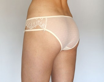Sheer Panties. Light Beige Eyelash Panties. Bridal Lingerie. Ivory Lace Panties. Tatiana's THreads