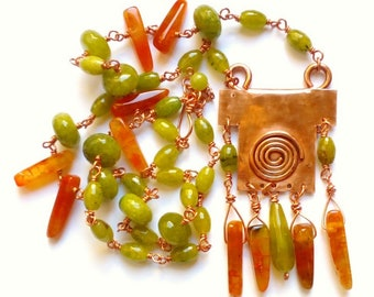 Copper and agate Wire technical necklace