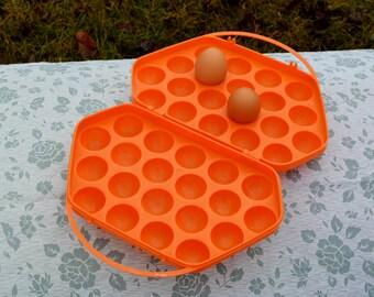 Plastic Eggs Holder, Vintage Egg Box, Egg Container Basket, Egg orange Storage, Plastic Container, Farmhouse egg holder, tray box for 20 Egg
