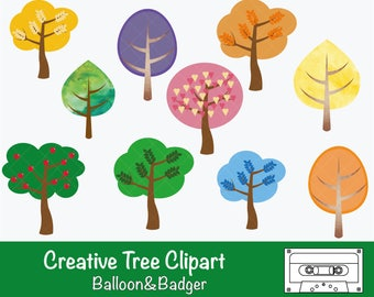 Creative Tree Clipart for Scrapbooking| Cards | Craft | Cake Toppers