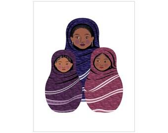 Tuareg Family Wall Art Print featuring cultural traditional dress drawn in a Russian matryoshka nesting doll shape