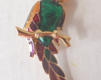 1960's COLORFUL Parrot Brooch/ Gold Plated/Enamel