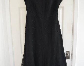 1950s Black Gauzy Polka Dot Long Dress S/M