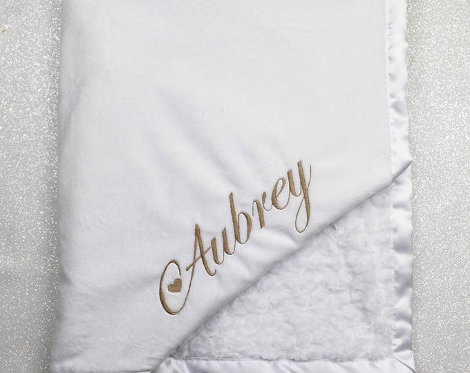 Custom Minky Blanket, blessing Minky, baptism blanket baby gift baby girl, personalized minky blanket, baby boy, white and gold wedding gift