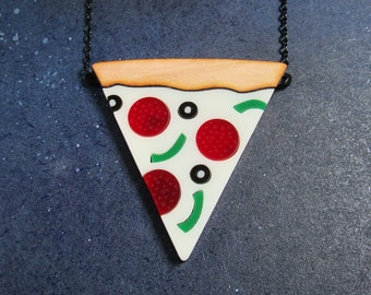 Pizza Necklace, Pizza Slice Statement Necklace, Supreme Pizza Pepperoni, Food Jewelry