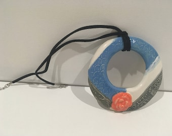 Blue and gray Rose pendant