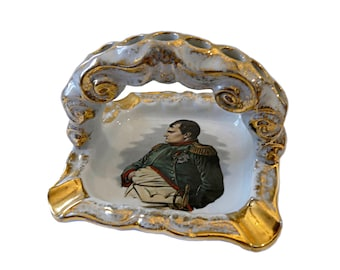Napoleon Bonaparte , Vintage french Limoges Porcelain Ashtray , Cigarettes Stand , Tobacciana , Collectible , Smoking accessories .  France
