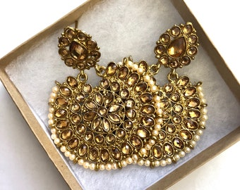 JhumkaEarrings, Indian Jewelry, Jhumkas,Kundan Earring, Gold Jhumki,Bollywood Earrings,Indian Earrings, Polki Earring, USA