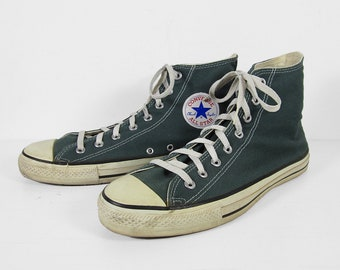 Vintage Converse Chuck Taylor Sneakers Made in USA Green Canvas All Star Shoes - Size 10